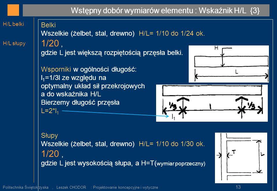 Belki Wszelkie (żelbet, stal, drewno) H/L= 1/10 do 1/24 ok. 1/20, gdzie L jest większą rozpiętością przęsła belki. Wsporniki w ogólności długość: l 1