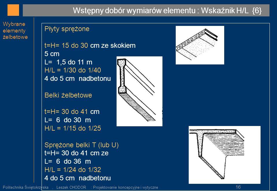 Wybrane elementy żelbetowe Płyty sprężone t=H= 15 do 30 cm ze skokiem 5 cm L= 1,5 do 11 m H/L = 1/30 do 1/40 4 do 5 cm nadbetonu Belki żelbetowe t=H=