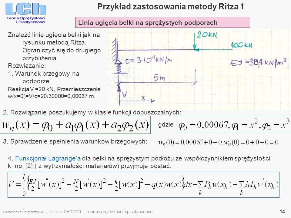 Przykład zastosowania metody Ritza 1 Politechnika Świętokrzyska, Leszek CHODOR Teoria sprężystości i plastyczności 14 Linia ugięcia belki na sprężysty