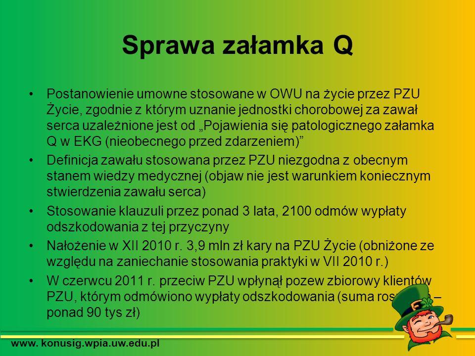 Sprawa załamka Q Postanowienie umowne stosowane w OWU na życie przez PZU Życie, zgodnie z którym uznanie jednostki chorobowej za zawał serca uzależnio
