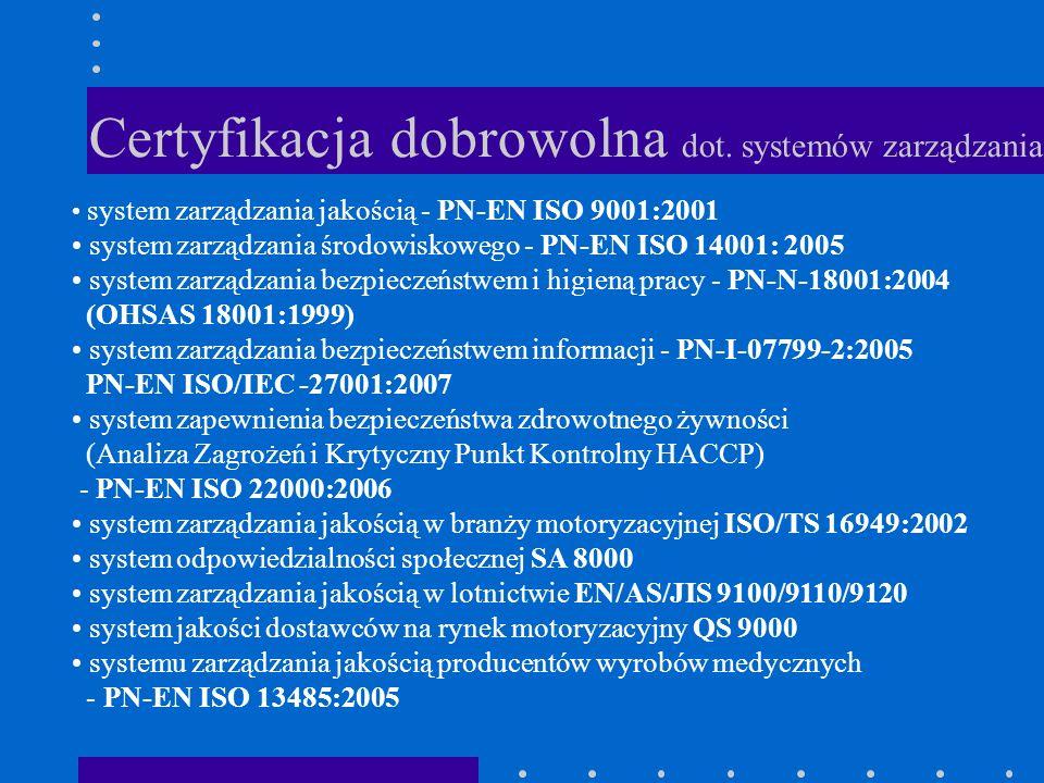 Certyfikacja dobrowolna dot. systemów zarządzania system zarządzania jakością - PN-EN ISO 9001:2001 system zarządzania środowiskowego - PN-EN ISO 1400