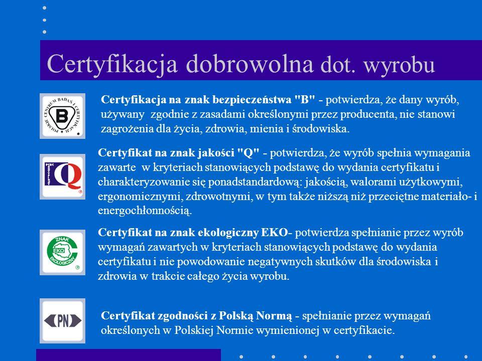 Certyfikacja dobrowolna dot. wyrobu Certyfikacja na znak bezpieczeństwa
