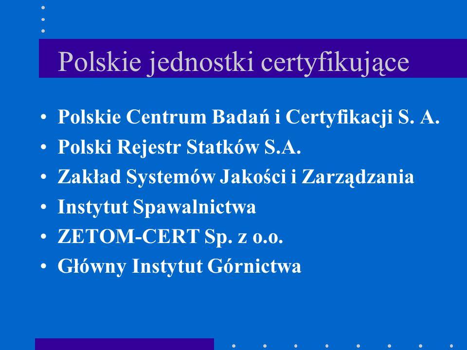 Polskie jednostki certyfikujące Polskie Centrum Badań i Certyfikacji S. A. Polski Rejestr Statków S.A. Zakład Systemów Jakości i Zarządzania Instytut