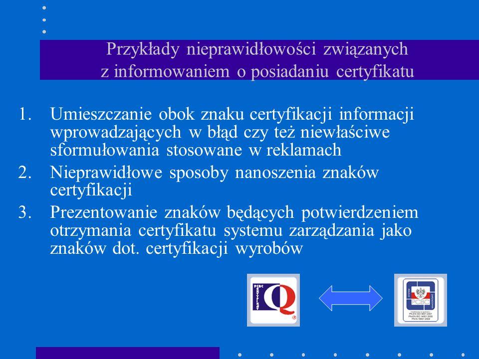 Przykłady nieprawidłowości związanych z informowaniem o posiadaniu certyfikatu 1.Umieszczanie obok znaku certyfikacji informacji wprowadzających w błą