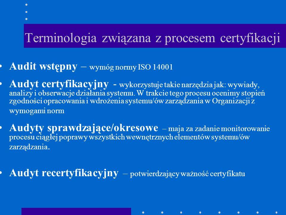Terminologia związana z procesem certyfikacji Audit wstępny – wymóg normy ISO 14001 Audyt certyfikacyjny - wykorzystuje takie narzędzia jak: wywiady,