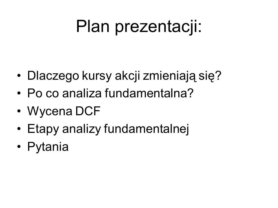 Plan prezentacji: Dlaczego kursy akcji zmieniają się? Po co analiza fundamentalna? Wycena DCF Etapy analizy fundamentalnej Pytania
