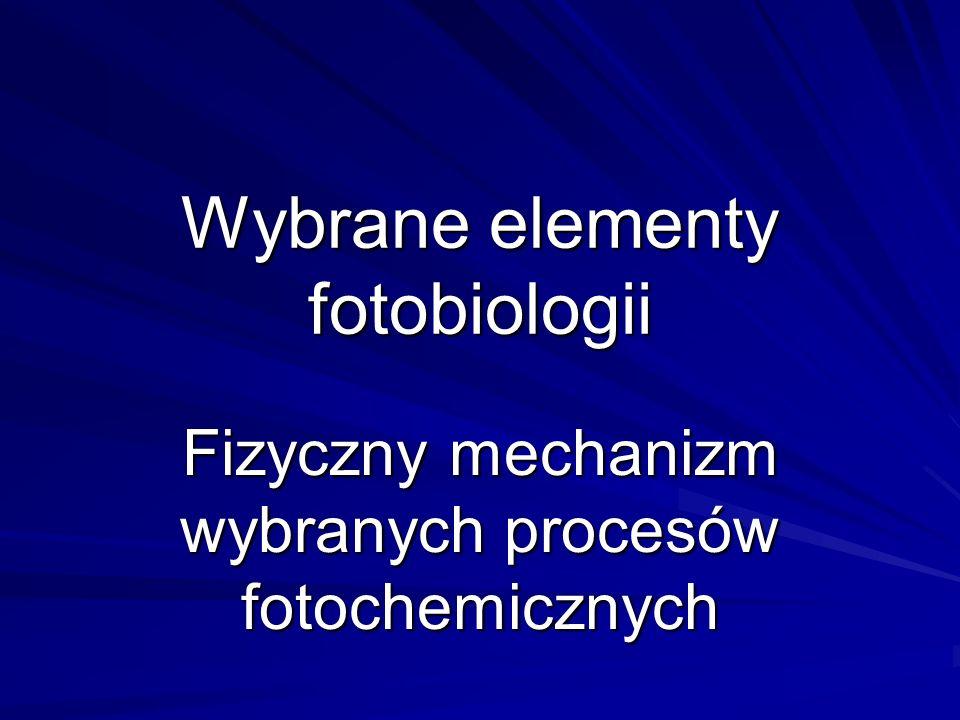 Zakres fotobiologii Zainteresowania fotobiologii dotyczą procesów zachodzących w żywych organizmach pod wpływem promieniowania o długości fali λ = 300 – 1000 nm.