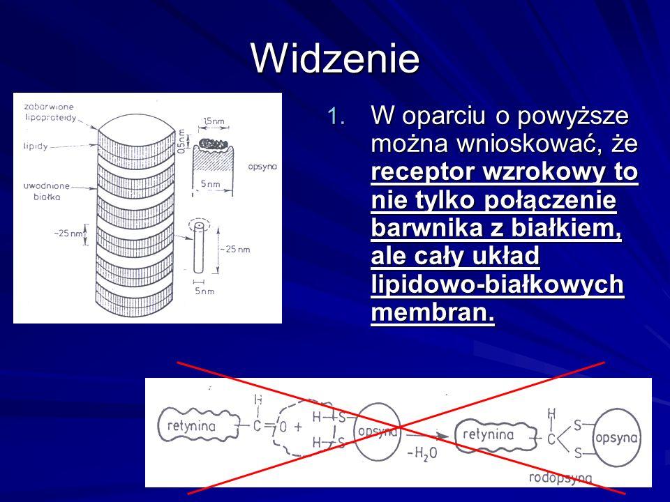 Widzenie 1. W oparciu o powyższe można wnioskować, że receptor wzrokowy to nie tylko połączenie barwnika z białkiem, ale cały układ lipidowo-białkowyc