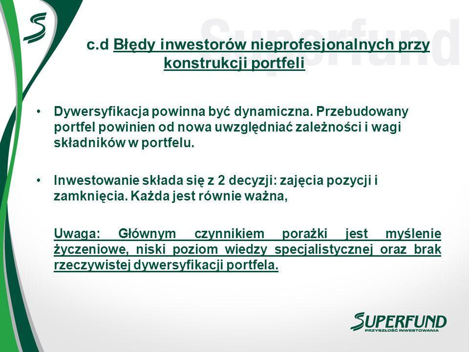 c.d Błędy inwestorów nieprofesjonalnych przy konstrukcji portfeli Dywersyfikacja powinna być dynamiczna. Przebudowany portfel powinien od nowa uwzględ