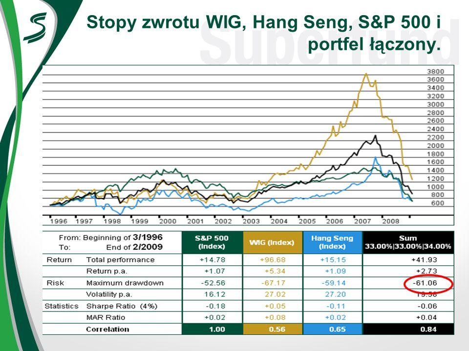 Stopy zwrotu WIG, Hang Seng, S&P 500 i portfel łączony.