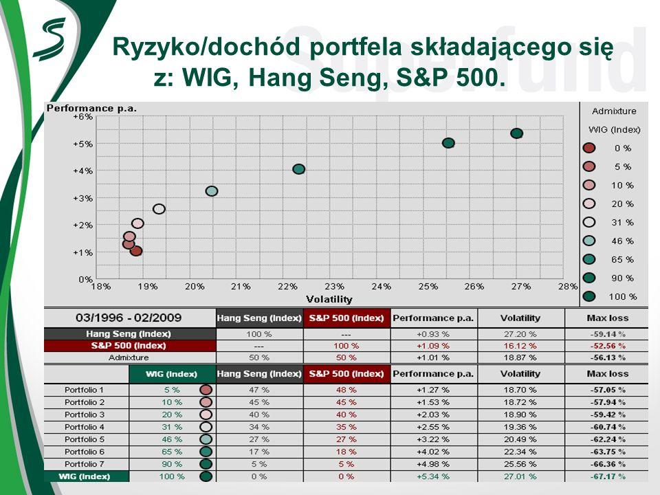 Ryzyko/dochód portfela składającego się z: WIG, Hang Seng, S&P 500.