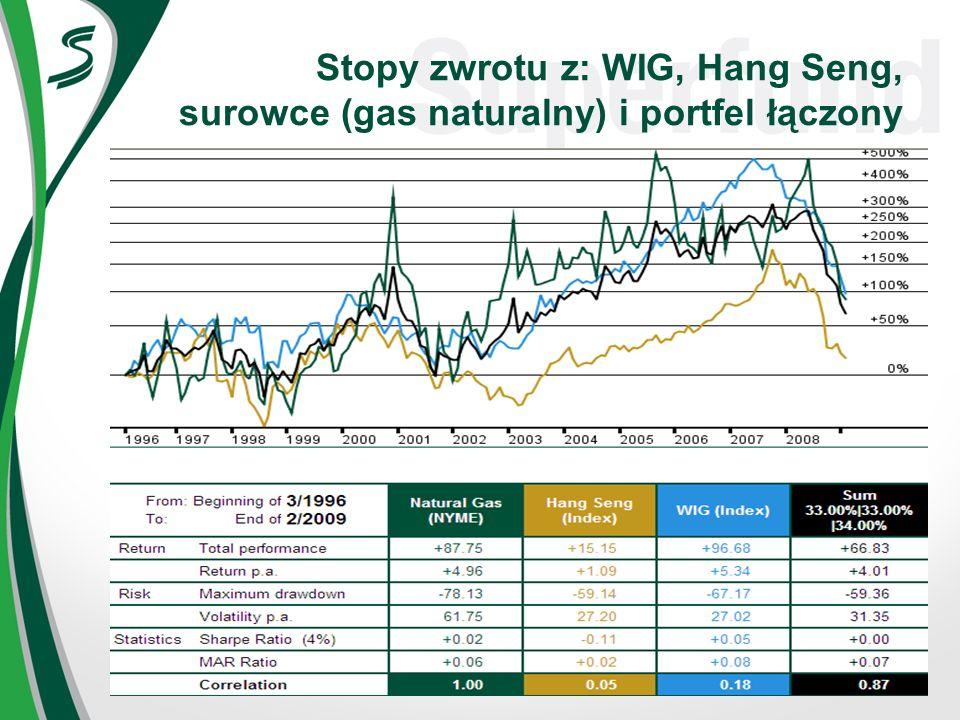 Stopy zwrotu z: WIG, Hang Seng, surowce (gas naturalny) i portfel łączony
