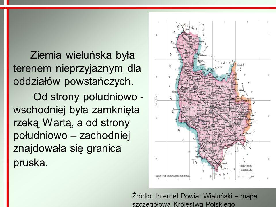 Ziemia wieluńska była terenem nieprzyjaznym dla oddziałów powstańczych. Od strony południowo - wschodniej była zamknięta rzeką Wartą, a od strony połu