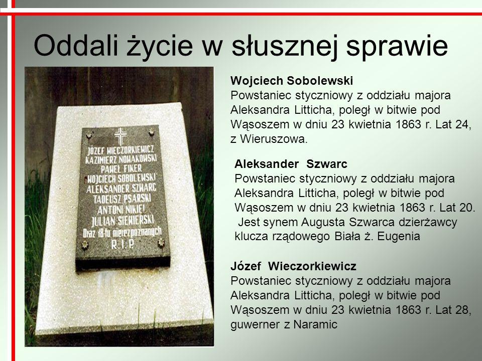 Oddali życie w słusznej sprawie Wojciech Sobolewski Powstaniec styczniowy z oddziału majora Aleksandra Litticha, poległ w bitwie pod Wąsoszem w dniu 2