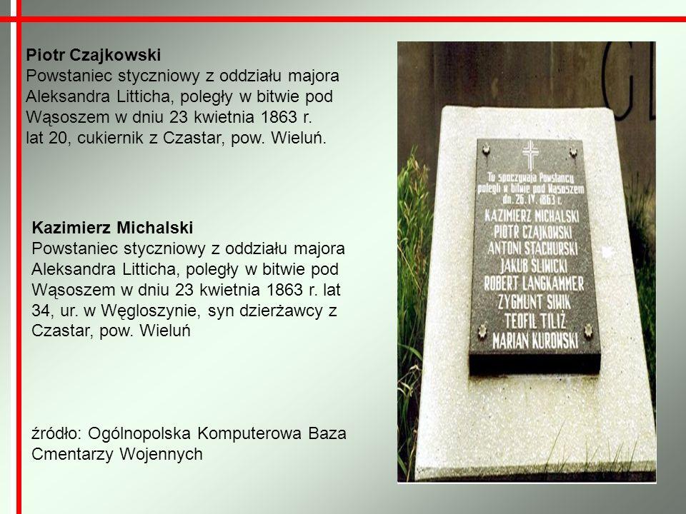 Piotr Czajkowski Powstaniec styczniowy z oddziału majora Aleksandra Litticha, poległy w bitwie pod Wąsoszem w dniu 23 kwietnia 1863 r. lat 20, cukiern