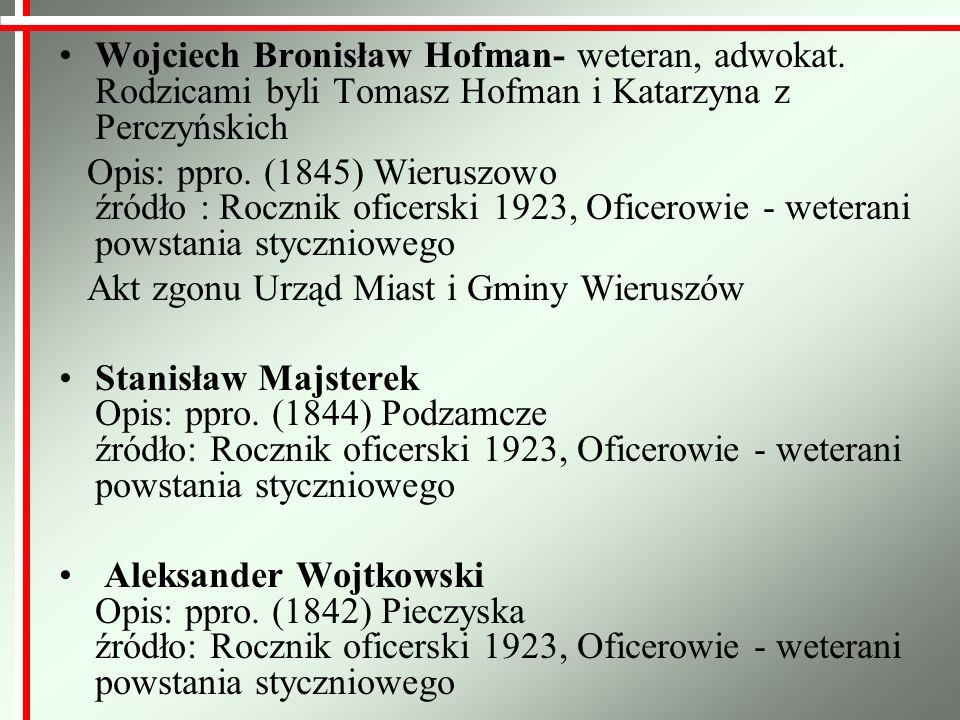 Wojciech Bronisław Hofman- weteran, adwokat. Rodzicami byli Tomasz Hofman i Katarzyna z Perczyńskich Opis: ppro. (1845) Wieruszowo źródło : Rocznik of