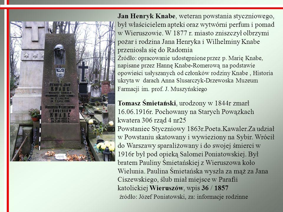Jan Henryk Knabe, weteran powstania styczniowego, był właścicielem apteki oraz wytwórni perfum i pomad w Wieruszowie. W 1877 r. miasto zniszczył olbrz