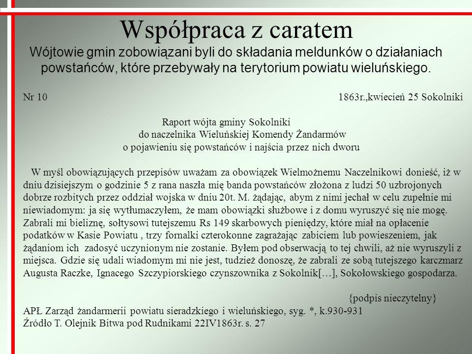 Współpraca z caratem Wójtowie gmin zobowiązani byli do składania meldunków o działaniach powstańców, które przebywały na terytorium powiatu wieluńskie