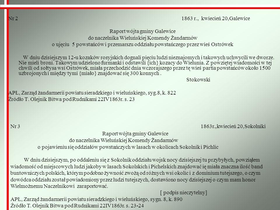 Nr 2 1863 r., kwiecień 20,Galewice Raport wójta gminy Galewice do naczelnika Wieluńskiej Komendy Żandarmów o ujęciu 5 powstańców i przemarszu oddziału