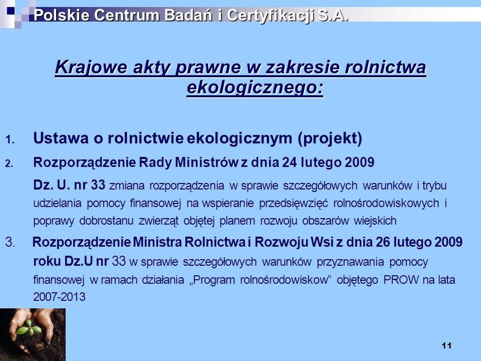 11 Polskie Centrum Badań i Certyfikacji S.A. Krajowe akty prawne w zakresie rolnictwa ekologicznego: 1. Ustawa o rolnictwie ekologicznym (projekt) 2.
