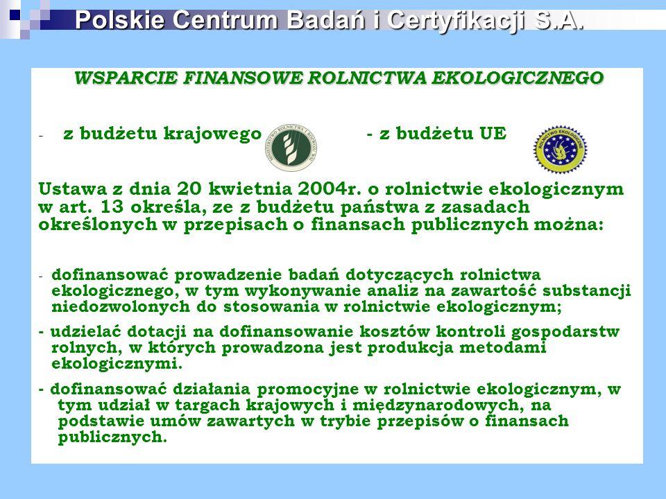 WSPARCIE FINANSOWE ROLNICTWA EKOLOGICZNEGO - z budżetu krajowego - z budżetu UE Ustawa z dnia 20 kwietnia 2004r. o rolnictwie ekologicznym w art. 13 o