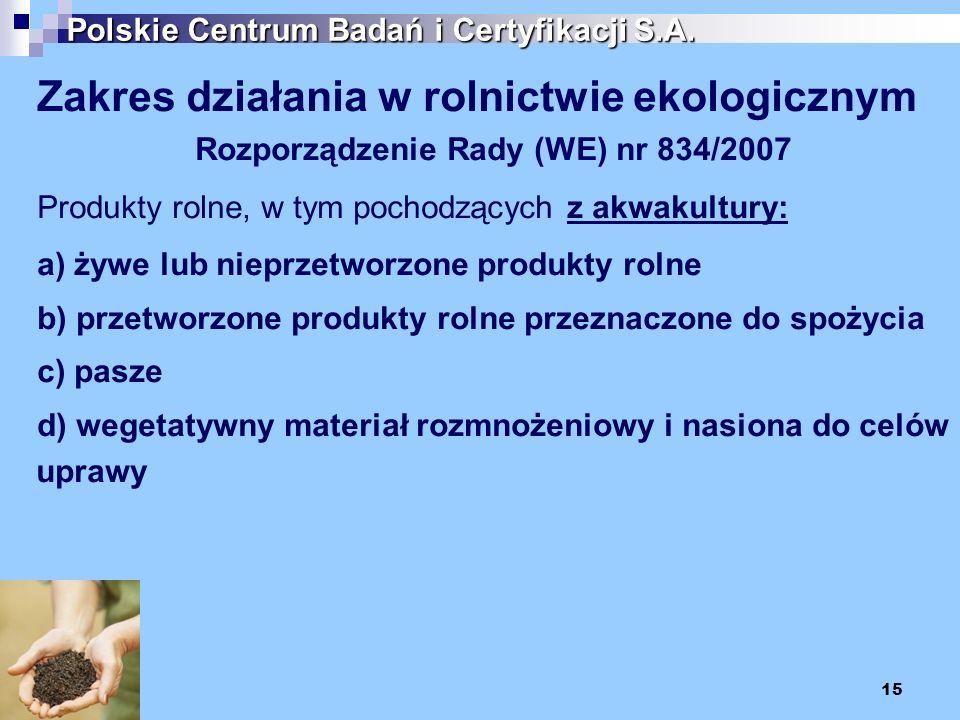 15 Polskie Centrum Badań i Certyfikacji S.A. Zakres działania w rolnictwie ekologicznym Rozporządzenie Rady (WE) nr 834/2007 Produkty rolne, w tym poc