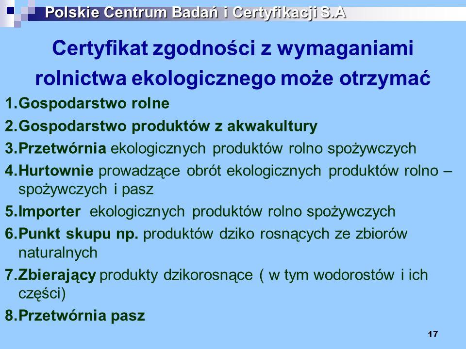 17 Certyfikat zgodności z wymaganiami rolnictwa ekologicznego może otrzymać 1.Gospodarstwo rolne 2.Gospodarstwo produktów z akwakultury 3.Przetwórnia