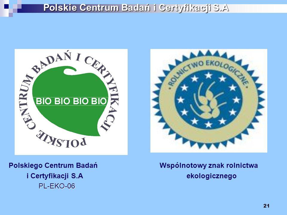 21 Polskiego Centrum Badań Wspólnotowy znak rolnictwa i Certyfikacji S.A ekologicznego PL-EKO-06 PL-EKO-06 Polskie Centrum Badań i Certyfikacji S.A