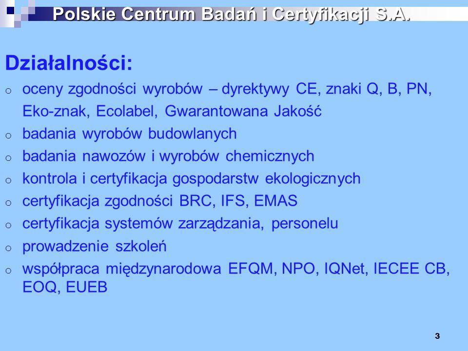 Działalności: o oceny zgodności wyrobów – dyrektywy CE, znaki Q, B, PN, Eko-znak, Ecolabel, Gwarantowana Jakość o badania wyrobów budowlanych o badani
