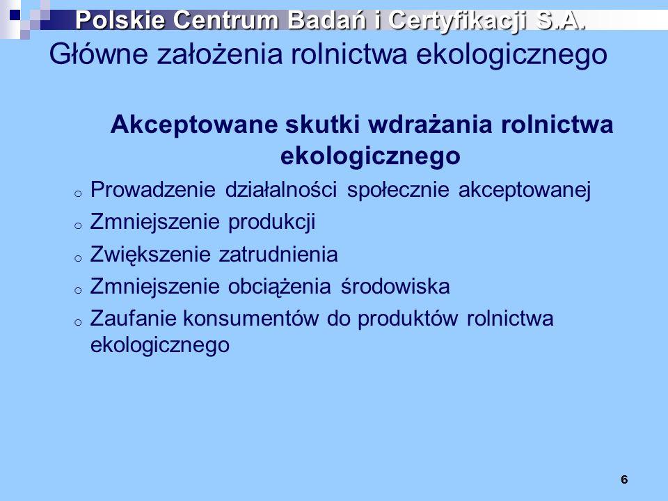 Główne założenia rolnictwa ekologicznego Akceptowane skutki wdrażania rolnictwa ekologicznego o Prowadzenie działalności społecznie akceptowanej o Zmn