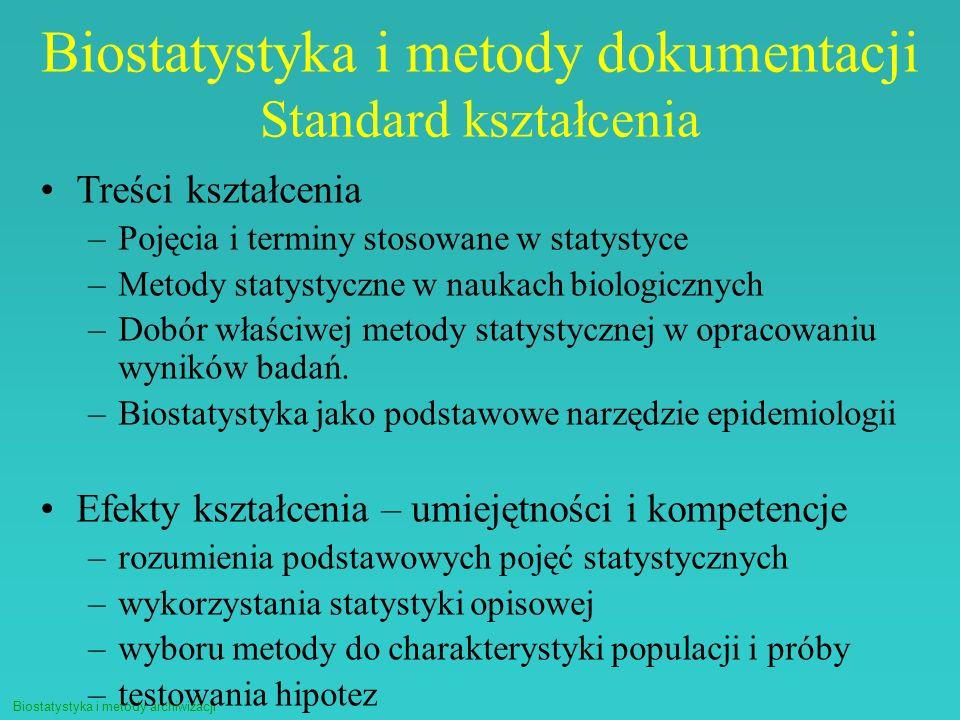 Biostatystyka i metody archiwizacji Biostatystyka i metody dokumentacji Standard kształcenia Treści kształcenia –Pojęcia i terminy stosowane w statyst