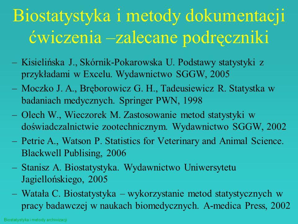 Biostatystyka i metody archiwizacji Biostatystyka i metody dokumentacji ćwiczenia –zalecane podręczniki –Kisielińska J., Skórnik-Pokarowska U. Podstaw