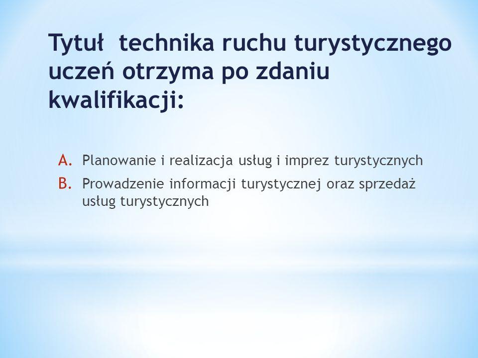 Tytuł technika ruchu turystycznego uczeń otrzyma po zdaniu kwalifikacji: A. Planowanie i realizacja usług i imprez turystycznych B. Prowadzenie inform