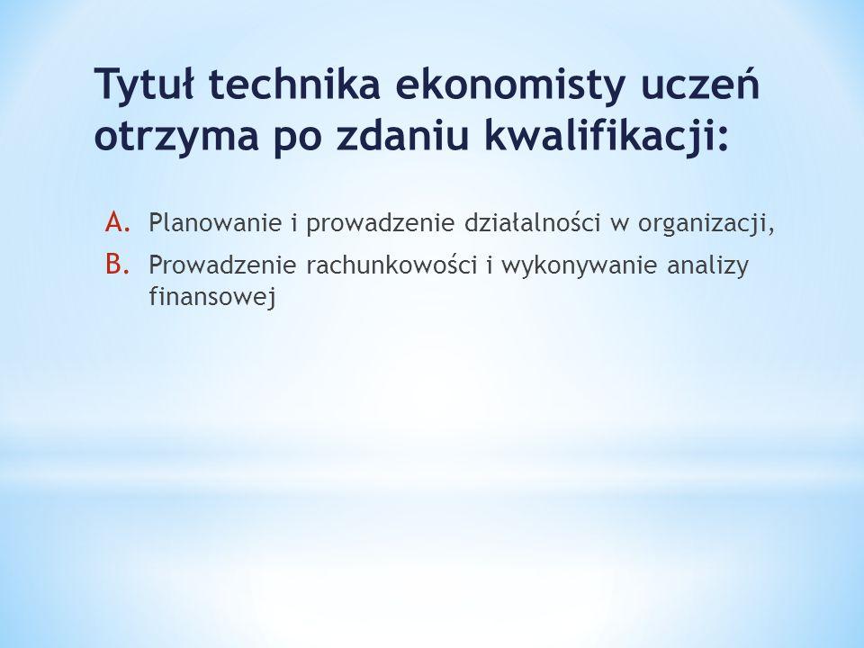 Tytuł technika ekonomisty uczeń otrzyma po zdaniu kwalifikacji: A. Planowanie i prowadzenie działalności w organizacji, B. Prowadzenie rachunkowości i