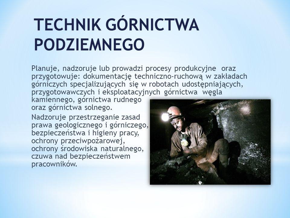 TECHNIK GÓRNICTWA PODZIEMNEGO Planuje, nadzoruje lub prowadzi procesy produkcyjne oraz przygotowuje: dokumentację techniczno-ruchową w zakładach górni