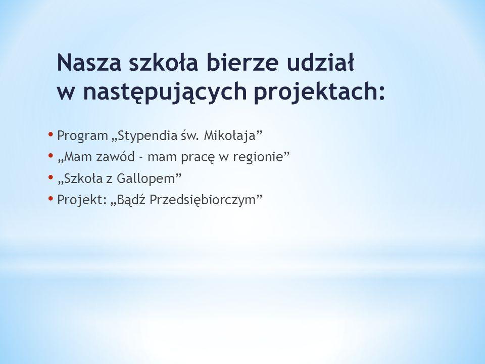 Nasza szkoła bierze udział w następujących projektach: Program Stypendia św. Mikołaja Mam zawód - mam pracę w regionie Szkoła z Gallopem Projekt: Bądź