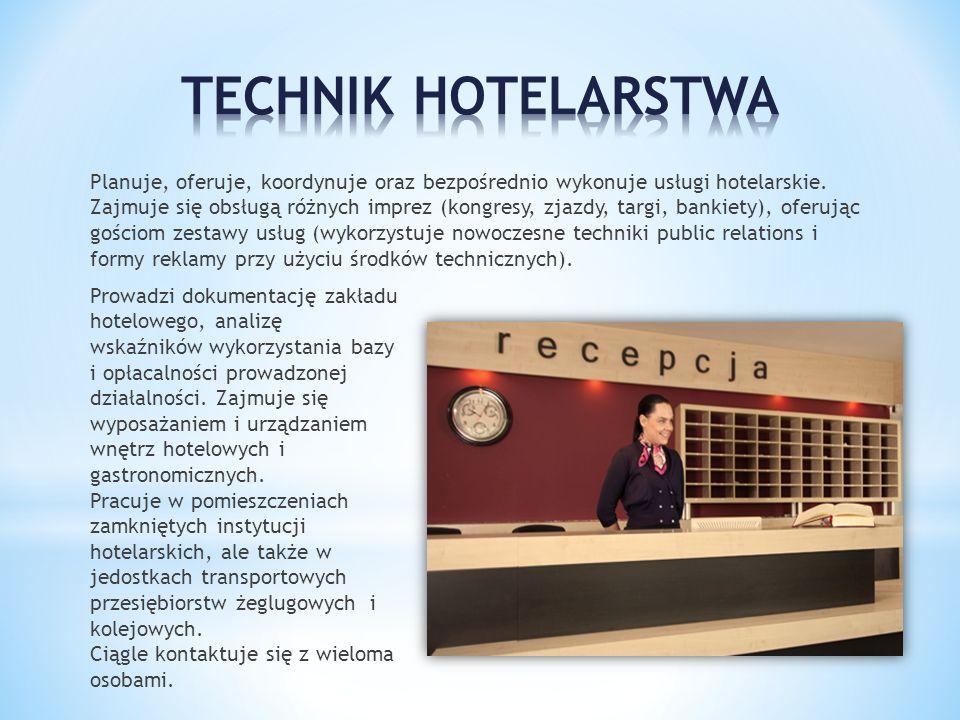 Planuje, oferuje, koordynuje oraz bezpośrednio wykonuje usługi hotelarskie. Zajmuje się obsługą różnych imprez (kongresy, zjazdy, targi, bankiety), of