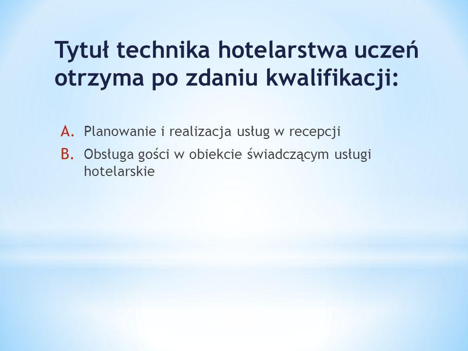 Tytuł technika hotelarstwa uczeń otrzyma po zdaniu kwalifikacji: A. Planowanie i realizacja usług w recepcji B. Obsługa gości w obiekcie świadczącym u