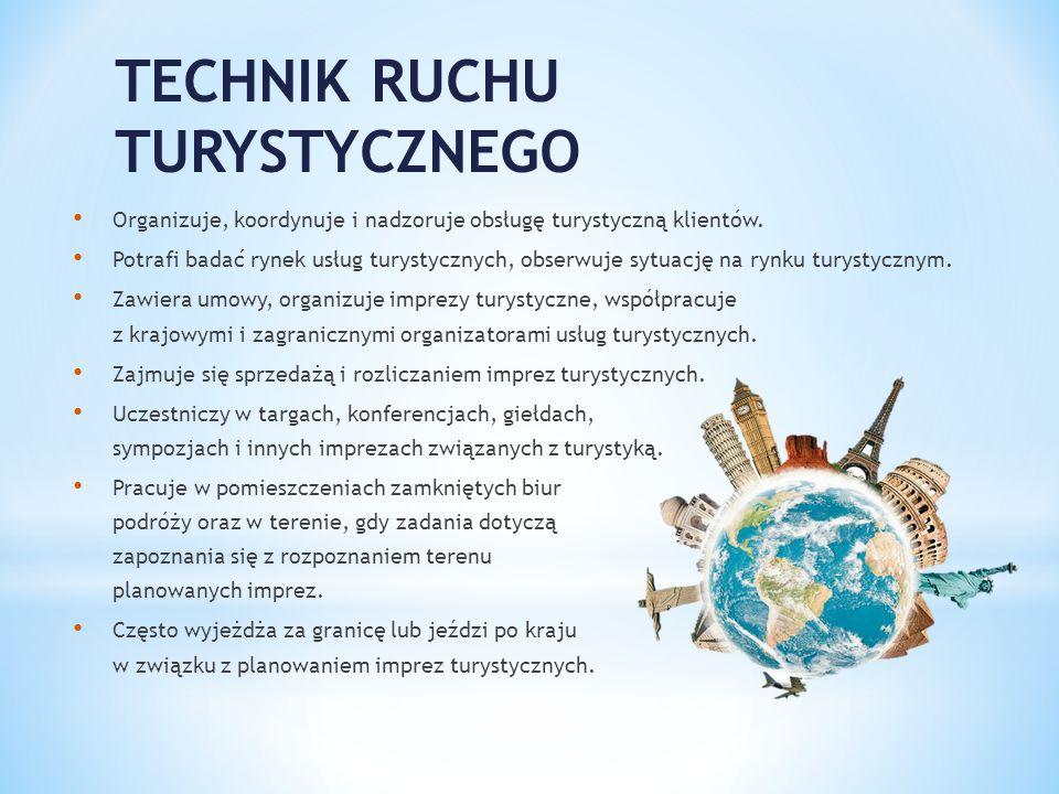 TECHNIK RUCHU TURYSTYCZNEGO Organizuje, koordynuje i nadzoruje obsługę turystyczną klientów. Potrafi badać rynek usług turystycznych, obserwuje sytuac