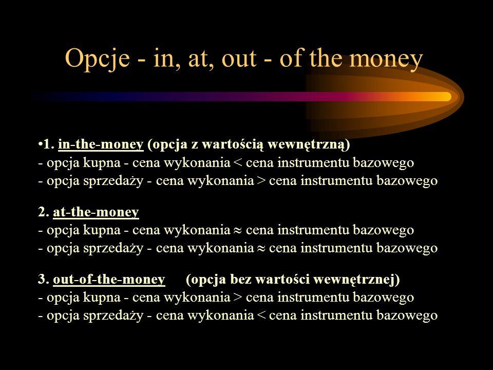 Opcje - in, at, out - of the money 1. in-the-money (opcja z wartością wewnętrzną) - opcja kupna - cena wykonania cena instrumentu bazowego 2. at-the-m