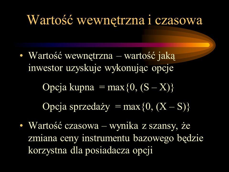 Wartość wewnętrzna i czasowa Wartość wewnętrzna – wartość jaką inwestor uzyskuje wykonując opcje Opcja kupna = max{0, (S – X)} Opcja sprzedaży = max{0
