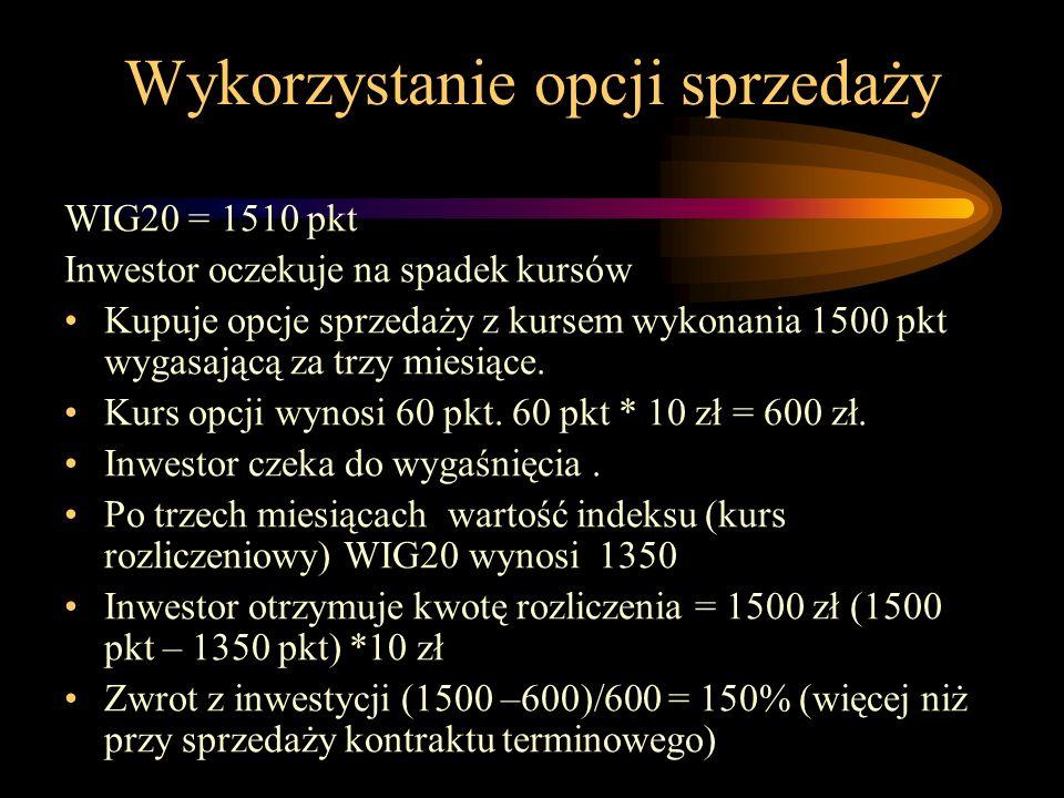Wykorzystanie opcji sprzedaży WIG20 = 1510 pkt Inwestor oczekuje na spadek kursów Kupuje opcje sprzedaży z kursem wykonania 1500 pkt wygasającą za trz