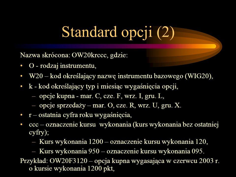 Standard opcji (2) Nazwa skrócona: OW20krccc, gdzie: O - rodzaj instrumentu, W20 – kod określający nazwę instrumentu bazowego (WIG20), k - kod określa