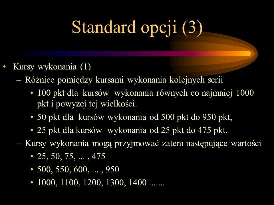 Standard opcji (3) Kursy wykonania (1) –Różnice pomiędzy kursami wykonania kolejnych serii 100 pkt dla kursów wykonania równych co najmniej 1000 pkt i