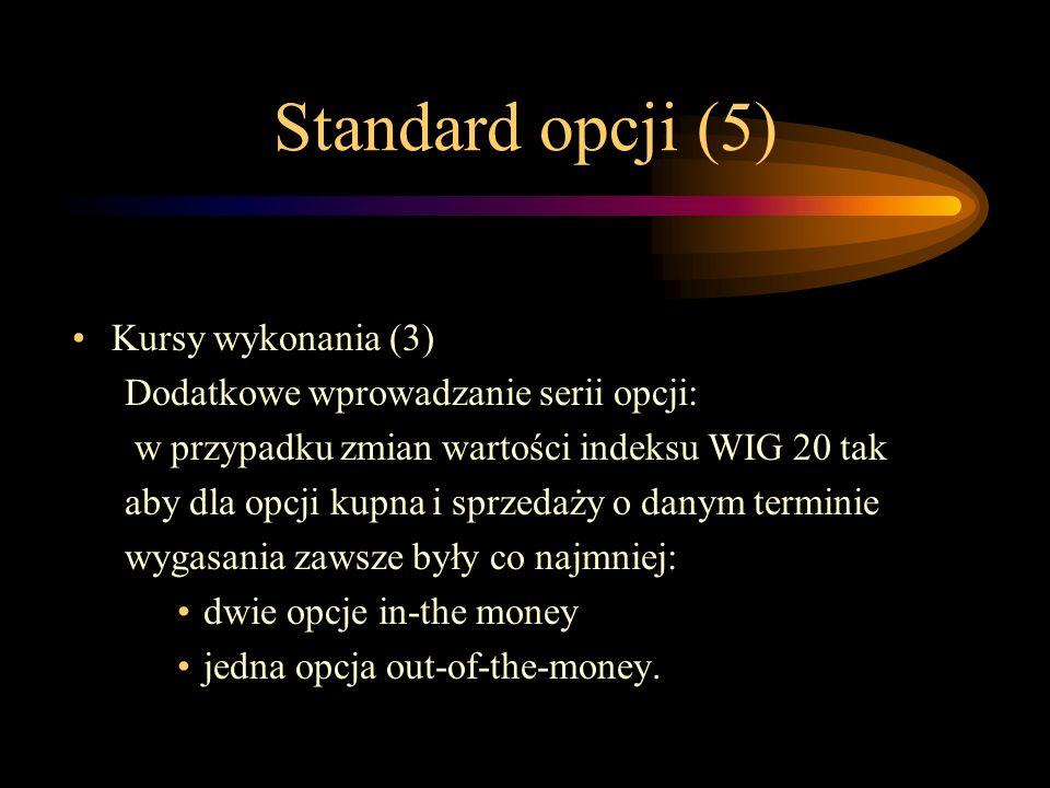 Standard opcji (5) Kursy wykonania (3) Dodatkowe wprowadzanie serii opcji: w przypadku zmian wartości indeksu WIG 20 tak aby dla opcji kupna i sprzeda