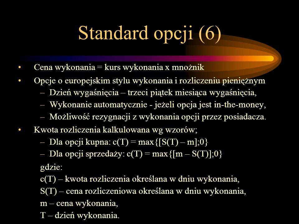 Standard opcji (6) Cena wykonania = kurs wykonania x mnożnik Opcje o europejskim stylu wykonania i rozliczeniu pieniężnym –Dzień wygaśnięcia – trzeci