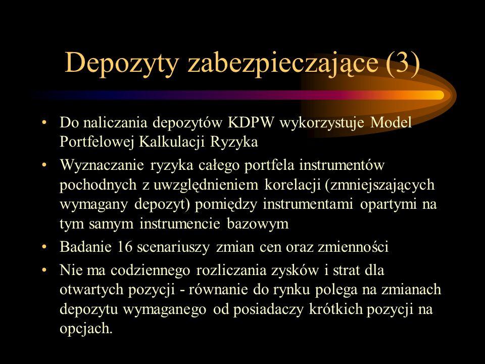 Depozyty zabezpieczające (3) Do naliczania depozytów KDPW wykorzystuje Model Portfelowej Kalkulacji Ryzyka Wyznaczanie ryzyka całego portfela instrume