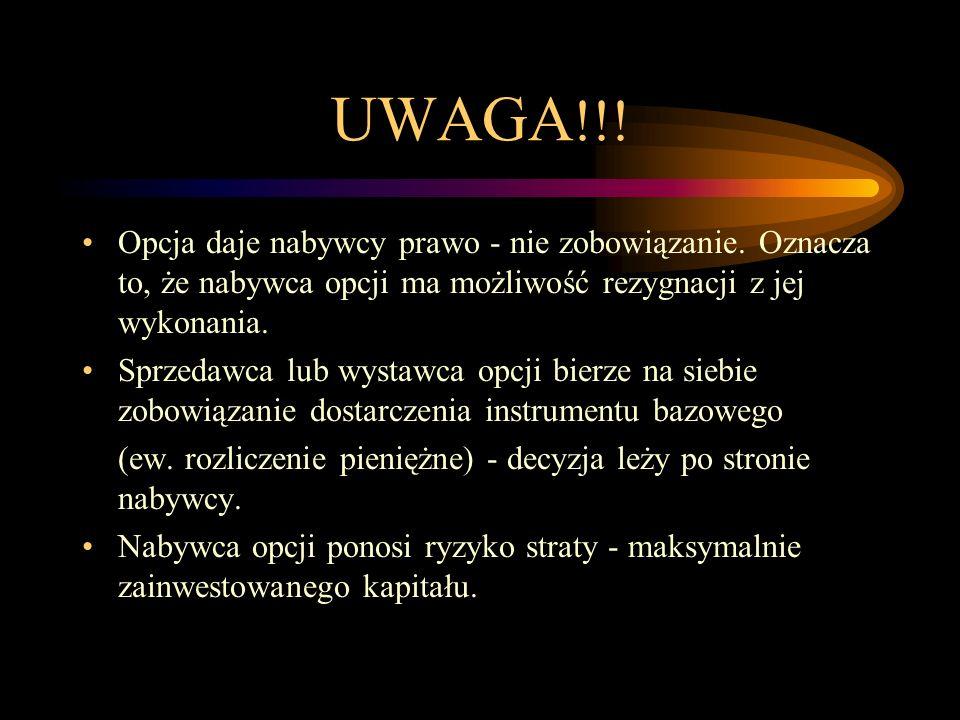 UWAGA !!! Opcja daje nabywcy prawo - nie zobowiązanie. Oznacza to, że nabywca opcji ma możliwość rezygnacji z jej wykonania. Sprzedawca lub wystawca o
