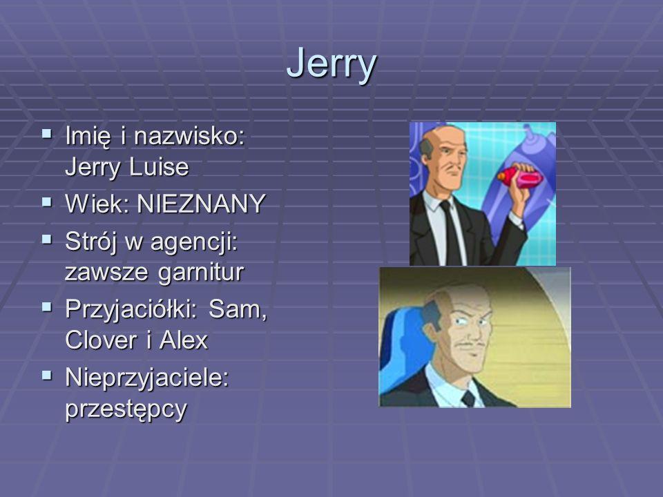 Jerry Imię i nazwisko: Jerry Luise Imię i nazwisko: Jerry Luise Wiek: NIEZNANY Wiek: NIEZNANY Strój w agencji: zawsze garnitur Strój w agencji: zawsze