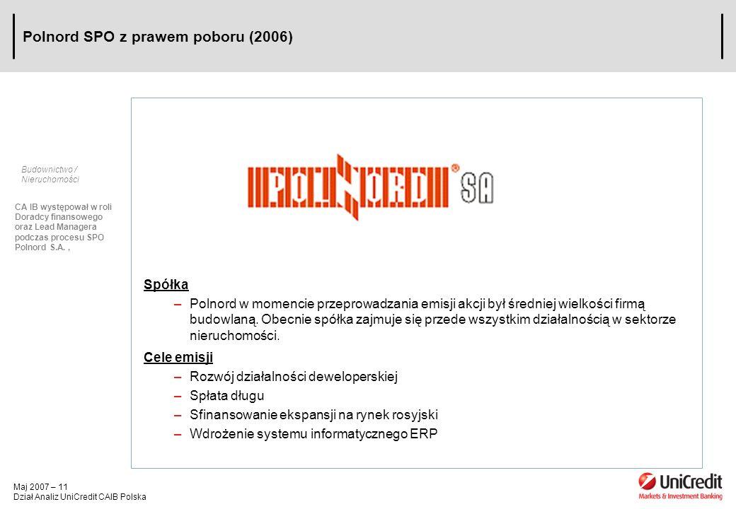 Maj 2007 – 11 Dział Analiz UniCredit CAIB Polska Polnord SPO z prawem poboru (2006) Budownictwo / Nieruchomości CA IB występował w roli Doradcy finans
